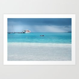 Beautiful light at the horizon on a rainy day at Kuto Bay Art Print