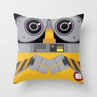 wall e Throw Pillows featuring Wall-E by Sam Del Valle