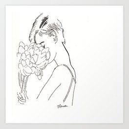 Girl with Peonies Art Print