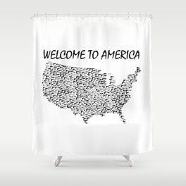 Welcome to America Guns Map Shower Curtain