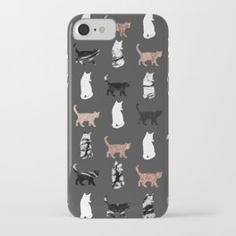 Kitty Cats in Rose Gold and Black and White Marble iPhone Case