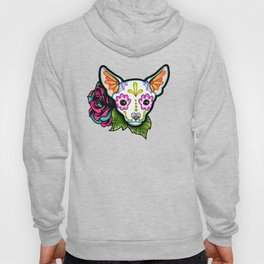 Chihuahua in White - Day of the Dead Sugar Skull Dog Hoody