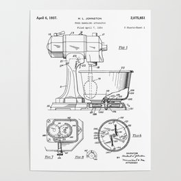 Kitchen Mixer Patent - Chef Food Mixer Art - Black And White Poster
