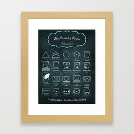 The Laundry Room Fabric Care Guide - Teal on Black Framed Art Print