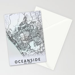 Oceanside, CA, USA, White, City, Map Stationery Cards