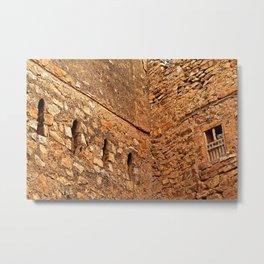 Antique Stone House Facade Windows, Oman Metal Print