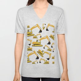 Excavator Truck Construction Trucks Pattern Unisex V-Neck