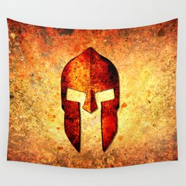 Spartan Helmet On Rust Background - Molon Labe Wall Tapestry