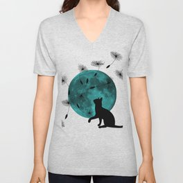 Turquoise Moon black Cat dandelions Unisex V-Neck