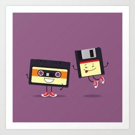 Floppy disk and cassette tape Art Print