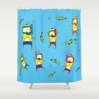 scuba Shower Curtains featuring Scuba Scuba by Steph Chen