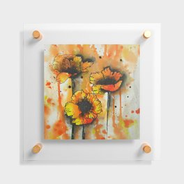 Three Poppies in Line + Wash / Watercolor Painting Floating Acrylic Print