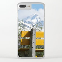 Bench and Mountain Landscape Clear iPhone Case