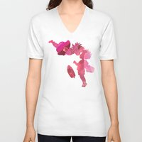 ponyo V-neck T-shirts featuring Ponyo and Sosuke in Pink by foreverwars