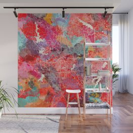 Fort Worth map Texas painting 2 Wall Mural