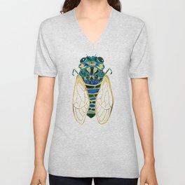 Green & Gold Cicada Unisex V-Neck