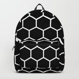 Black and white honeycomb pattern Backpack
