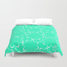 Flowers in mint Duvet Cover