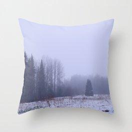 Foggy and snowy Throw Pillow