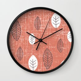 Leaves on Texture Wall Clock