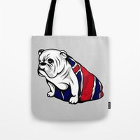 british Tote Bags featuring British Bulldog by Pancho the Macho