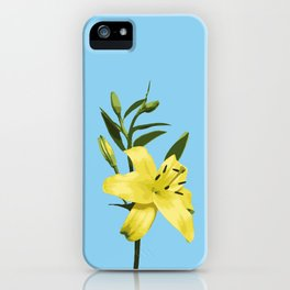 Yellow Lily on Sky Blue Background Illustrated Print iPhone Case