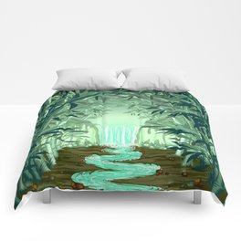 Fluorescent Waterfall on Surreal Bamboo Forest Comforters