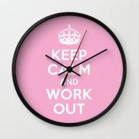 keep calm Wall Clocks featuring Keep Calm by Free Specie