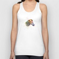 zebra Tank Tops featuring Zebra by emegi