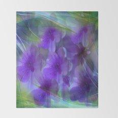 Violet Flower Garden Abstract Throw Blanket