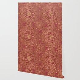 Gold Mandala Pattern On Cherry Red Wallpaper
