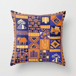 African Batik Collage Throw Pillow