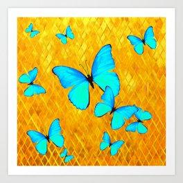 Gorgeous Gold Patterned Turquoise Butterflies Art Art Print