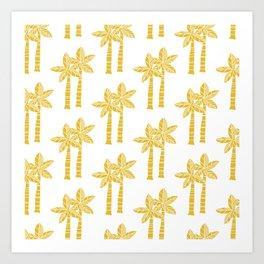 Palm Tree Pattern Mustard Yellow 3 Art Print