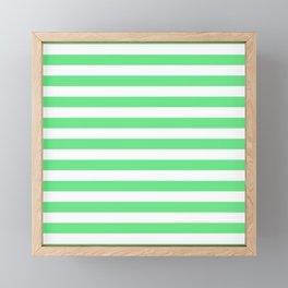 Algae Green and White Horizontal Beach Hut Stripes Framed Mini Art Print