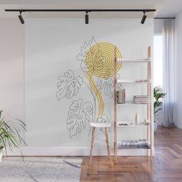 Monstera line Art Wall Mural