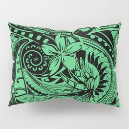 Hawaiian - Polynesian Teal Tropical Print Pillow Sham