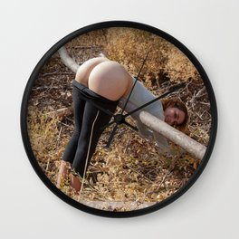 Bare in the Woods. A young Lady exposing her full backside to nature Wall Clock