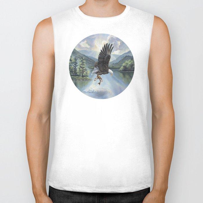 Eagle with Fish Biker Tank