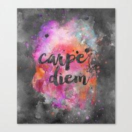 Carpe diem colorful watercolor handlettering Canvas Print