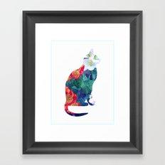 Flowered Cat Framed Art Print