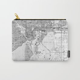 Vintage Map of Tampa Florida (1944) BW Carry-All Pouch
