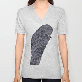 Nibbling Black Cockatoo Unisex V-Neck