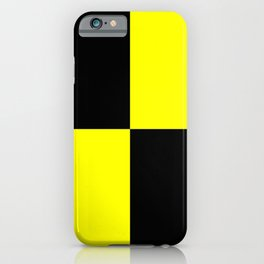 Bright Fluorescent Yellow Neon & Black Checked Checkerboard iPhone Case
