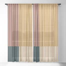 Color Block Line Abstract XV Sheer Curtain