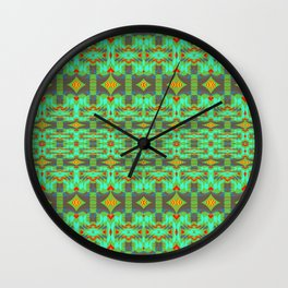 Vintage Psychedelic Kitsch Pattern Green Wall Clock