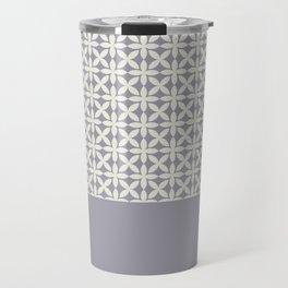 Pantone Cannoli Cream Square Petal Pattern on Pantone Lilac Gray Travel Mug
