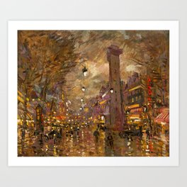 La Porte St. Denis at Night, Paris city life at night landscape painting by Konstantin Korovin Art Print