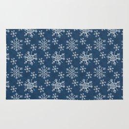 Hand Drawn Snowflakes on Blue Rug