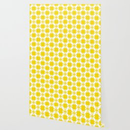 Geometric Floral Circles Summer Sun Shine Bright Yellow Wallpaper